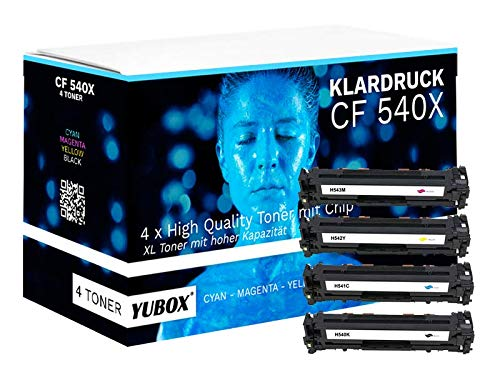 Lot de 4 toners XL compatibles avec HP 203X 203A HP CF540X - CF543X pour HP Color Laserjet Pro M281fdw Toner HP Color Laserjet Pro M254dw M254nw M254dnw M281fdn M281fw M280nw