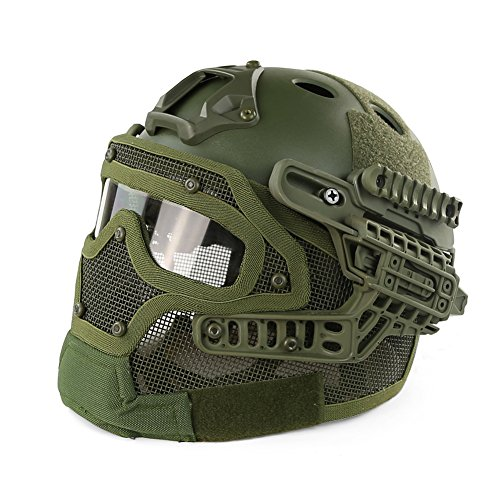 iMeshbean PJ Fast Tactical Helmet Airsoft Full Face Mask with Goggles Molle Mesh Breathable Eye Protection for Military CS Paintball Shooting Hunting Cycling Outdoor Sport (Green)