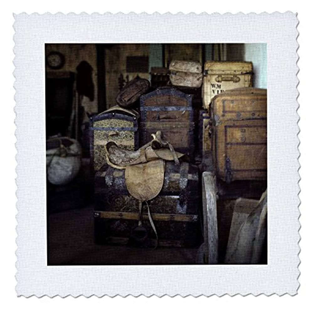 3dRose qs_91115_1 Montana, Virginia City. Antique trunks and saddle - US23 BJA0095 - Jaynes Gallery - Quilt Square, 10 by 10-Inch