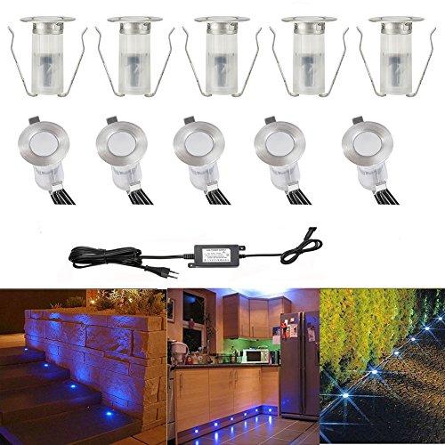 FVTLED mini Bodeneinbaustrahler Set DC12V Ø19mm 0.4W LED Einbaustrahler IP67 Wasserdicht Einbauleuchten Außen Terrasse Küche Garten Led Lampe (10er, Blau)