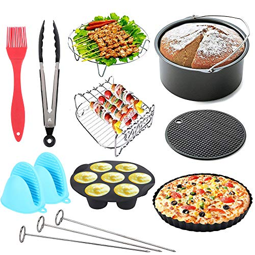 An image of the 13Pcs Air Fryer Accessories Set, 7 Inch Deluxe Accessories Tower for Air Fryer, Including Pizza Pan, Cake Baking Tray, Grill, Metal Bracket, Multi-Purpose Baking Rack, Food Clips
