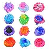 DODUOS 12 PCS Pañuelos de Baile de 55x60cm Pañuelos de Malabares Mágicos Multicolor Bufandas de Baile Pañuelos Mágicos de Seda para Niños Chicas Actividades Fiesta Decoración y Juegos Accesorios