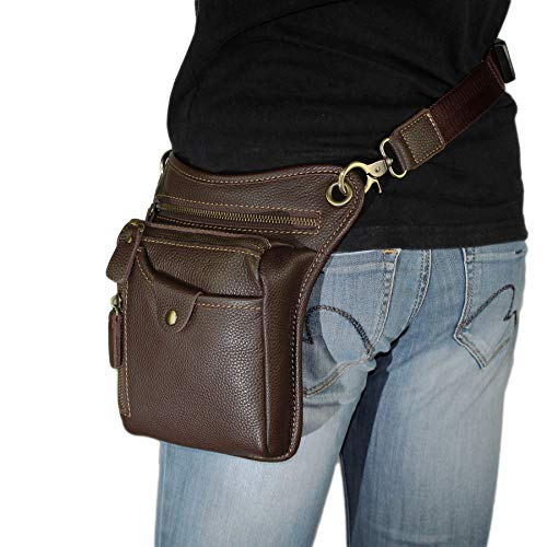 DK86 Genuine Leather Motorcycle Waist Pack Thigh Drop Leg Bag for Men and Women Coffee
