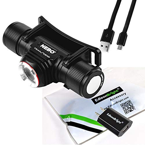 NEBO Tools Transcend 1000 Lumen USB rechargeable Headlamp with battery and EdisonBright in-car charging adapter bundle