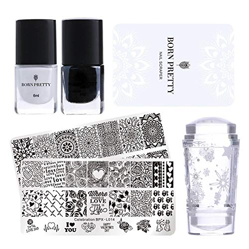 Born Pretty Nail Stamping Set-2Pcs Image Template Black White Stamping Nail Polish with 1Pc Jelly Clear Stamper