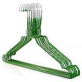 HANGERWORLD 25 Metall-Kleiderbügel 40cm Drahtkleiderbügel Verzinkt mit grüner Pulverbeschichtung