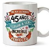 MUGFFINS Taza 45 Cumpleaños -Me ha llevado 45 años llegar a ser increíble y casi perfecto - Regalos Desayuno Feliz Cumpleaños…