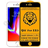 Kreatick 11D Edge to Edge Tempered Glass Screen Protector Compatible with Apple iPhone 8 Plus [Pack of 1] Without Installation kit (Black)