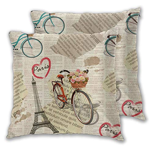 ZELXXXDA Throw Pillow Covers,Set of 2,Seamless Paris Vintage Newspaper BackgroundDecorative Square Cushion Case for Sofa Couch Bedroom Car 16'x 16'