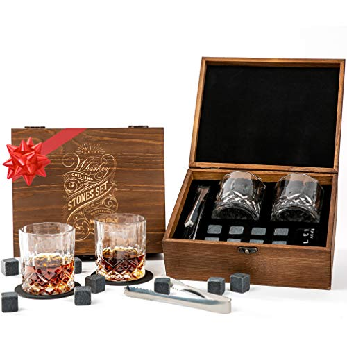 ÉLEVER Whiskey Stones & Whiskey Glass - Luxury Whiskey Gifts for Men. Whiskey set with Chilling Rocks, 2 Scotch, Bourbon Glass, Coaster set - Personalized Whiskey Stones Gift Set, Ice Cubes Reusable