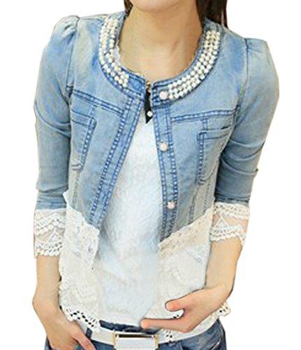YDCQY Frauen Perlen Spitze Nähen War Dünn Jeansjacke Mantel Outwear Bolero Tops Kurzshirt (Europa 38=Asiatische L)