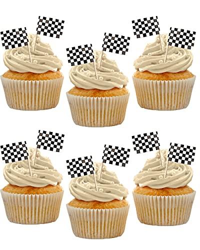 Bandera de carrera Cupcake, bandera de delantales, decoración de pastel, cumpleaños RALLY, bandera de carreras de cuadros, picnics, cumpleaños, Mario Kart, fiesta de vídeo (paquete de 24)
