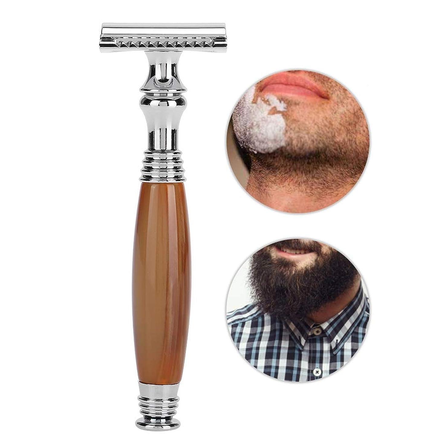 メッセンジャー弁護人ファランクス手動メンズシェーバー、剃刀 メンズシェーバー 6種類の古典的な様式の木のハンドルの二重刃の手動かみそり安全 防水肌に優しく 使いやすい 快適な剃り (5#)