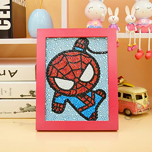 MYSNKU DIY Diamond Painting for Kids Full Drill Painting by Number Kits Arts Crafts Shimmer and Shine Sparkle Mosaics Sticker for Home Wall Decor Gifts for Christmas Birthday (Spiderman)