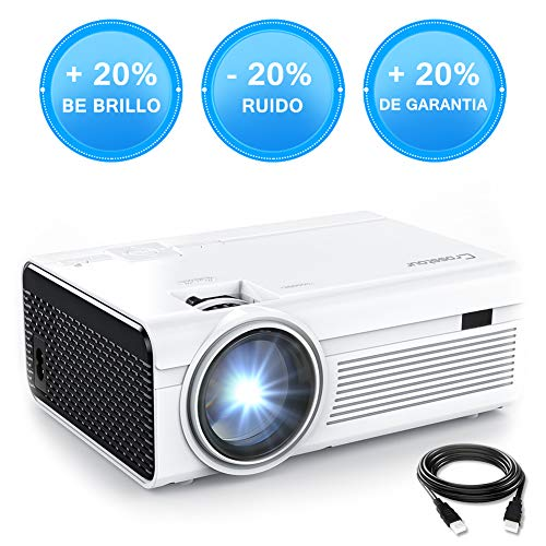 Crosstour Mini Proyector Portátil HD LED Soporte 1080P Vídeo Proyector Lampara con 55.000 Horas de Uso, Compatible con HDMI/USB/Tarjeta SD/VGA/AV/TV Box/PS4
