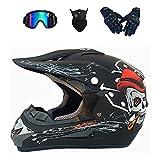 YXLM - Casco de bicicleta de montaña integral para niños, motocross, Off-Road, casco BMX, quad, bicicleta de montaña, certificado (D negro mate, L)