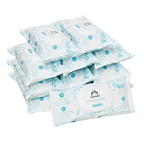 Marque Amazon - Mama Bear Ultra Sensitive lingettes sans parfum pour bébé - Pack de 12 (720 lingettes-Tissu 100% biodégradable )