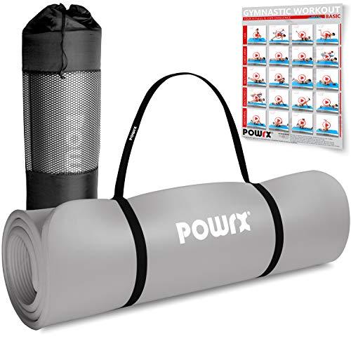 POWRX Gymnastikmatte Premium inkl. Trageband + Tasche + Übungsposter GRATIS I Hautfreundliche Fitnessmatte Phthalatfrei 190 x 60, 80 oder 100 x 1.5 cm (Grau, 190 x 60 x 1.5 cm)