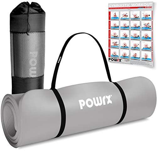 POWRX Colchoneta Fitness Antideslizante 190 x 60 x 1,5 cm - Esterilla Extra Suave Ideal para Yoga, Pilates y ginnasia - Ecológica con Cinta para Transporte y Funda + Poster (Gris)