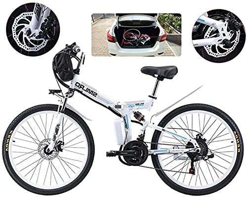 Bicicleta de montaña eléctrica plegable E-Bike, bicicletas de nieve de 500 W, pantalla LCD de 21 velocidades y 3 modos para adultos con suspensión completa, ruedas de 26 pulgadas, bicicleta eléctrica