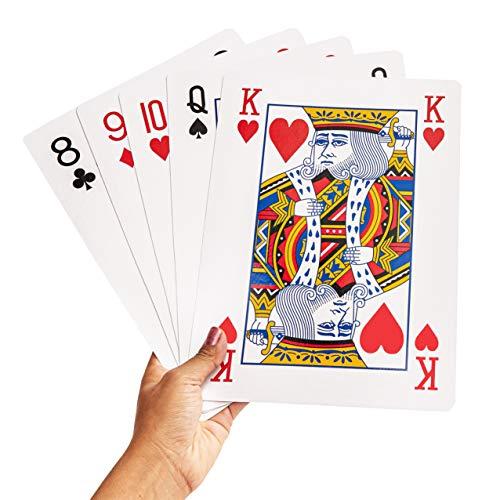 Juvale Jumbo Spielkarten Riesenkarten für Mau Mau, Poker, Bridge, 17 und Vier und andere Kartenspiele - Riesenspaß für Jede Altersgruppe - Standard-Kartensatz und 2 Joker - 20,3 x 27,9 cm