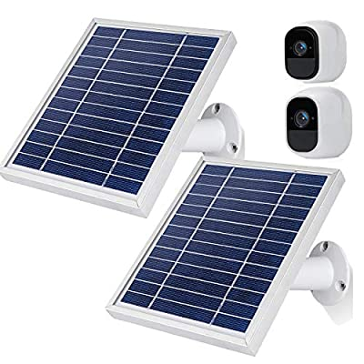 iTODOS IP65 Solar Panel Works for Arlo Pro and Arlo Pro 2, Switch Control, 11Feet USB Cable(2 Pack, Silver)