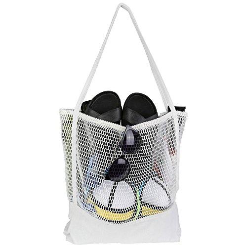 Faleto XL Mesh Beach Bag Tote Strandtasche Familie Mesh-Strand-Tasche Netztasche Picknick Organizer Einkaufstasche Handtasche, Schwarz/Weiß (Weiß)