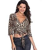 Leopard Print Wrap Top Frauen Shirts V-Ausschnitt Kurze Bluse 1/2 Ärmel Damen Tunika Sexy Crossover Bund Krawatte - S