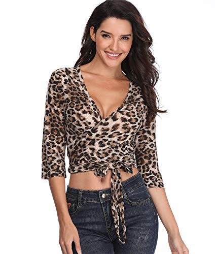 Leopardo de impresión Abrigo Mujeres Top Camisas con Cuello en V Blusa Corta 1/2 Mangas señoras túnica Sexy Crossover Cintura Tie - L