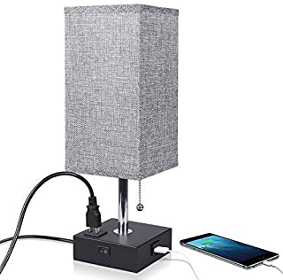 Nightstand Lamp Built in USB Charging Port & Power Outlet, Grey Square Fabric Shade & Modern Table Lamp-Great for Living Room Bedside Nightstand Light(Black Base)
