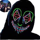 Máscara de Halloween LED con Diseño de Calavera,Purga Grimace Mask, Horror Máscara de Halloween, Accesorio Decorativo para Festivales Fiestas para Adultos y Niños