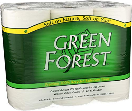 Green Forest Premium 100% Recycled Bathroom Tissue, 352 Sheets, 12 Rolls (Single Pack)