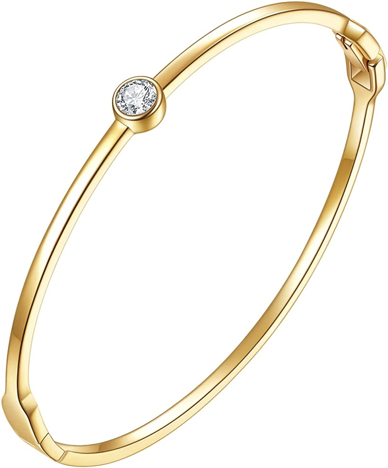 Carat Kitten 14K Gold Plated Simple Bangles Bracelets for Women Teen Girls Womens Dainty Oval Minimalist bangle Bracelets with Cubic Zirconia Best Gifts for Mother Wife Friends Lovers
