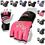 MMA Gloves, UFC Kickboxing Gloves, MMA Sparring Gloves, MMA Training Equipment, Fighting Gloves for Mixed Martial-Arts, MMA Training Gloves Adults Men & Women by BeSmart (Pink, Small)