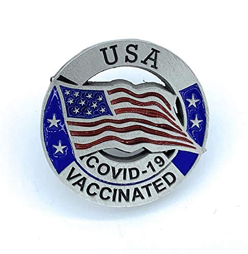 COVID Vaccine Pin - COVID-19 Vaccinated Lapel Pin - USA Flag COVID Vaccinated Pin - United States Coronavirus Vaccinated Pin - Buy 2 or more Pinning Me single pins get 25% off your order