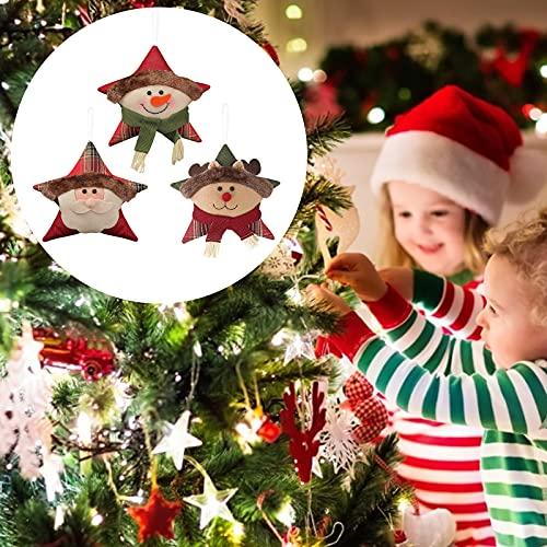 DriSubt 3PCS Ornamenti Pendenti di Albero di Natale, Pentagonale Ornamenti Set di Palline per L'Albero di Natale, Ciondoli di Natale