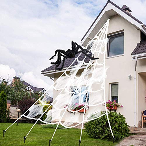 AODINI Spider Web Halloween Decorations, 16 ×15 Feet Giant Triangular Spider Web Plus a Fake Big Spider, Suitable for…