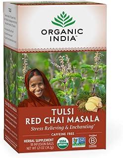 Organic India Tulsi Red Chai Masala Herbal Tea - Stress Relieving & Enlivening, Immune Support, Vegan, USDA Certified Orga...