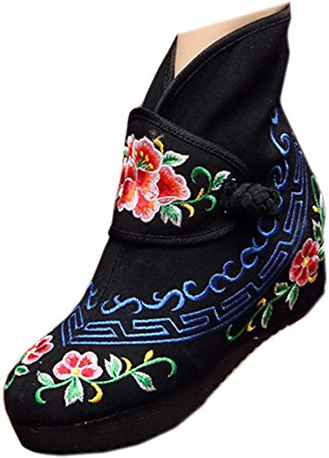 Short Boots Canvas Embroidered Old Beijing Cloth shoes
