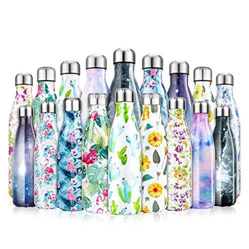 lalafancy Bottiglia Acqua in Acciaio Inox, Borraccia Sportiva Thermos Isolamento Sottovuoto a Doppia Parete per 24 Ore Fredde & 12 Calde, Senza BPA - 500ml/750ml