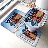 Biooker Bath Mats, Willie Nelson Live and Kickin' Durable Bathroom Rug Mats Set 3 Piece Anti-Skid...