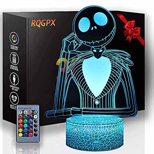 3D ilusión lámpara de noche Jack Skellington 3D lámpara de ilusión óptica USB alimentado 16 colores intermitente interruptor táctil dormitorio decoración iluminación para niños