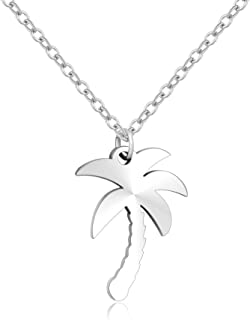 MANZHEN Stainless Steel Beach Palm Tree Pendant Charm Necklace