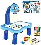 MOMSIV Proyector para rastrear y dibujar juguetes, mesa de proyección de dibujo para niños, mesa de proyección y trazo de juguete, mesa de proyección con proyector inteligente y música con luz (azul)