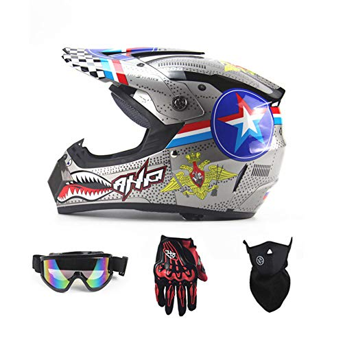 Motorradhelm, Outdoor-Dirt-Fahrradhelme, Fullface-Motocross-Offroad-Helm Four Seasons Universal (Handschuhe, Brille, Maske, 4-teiliger Satz),Shark,M