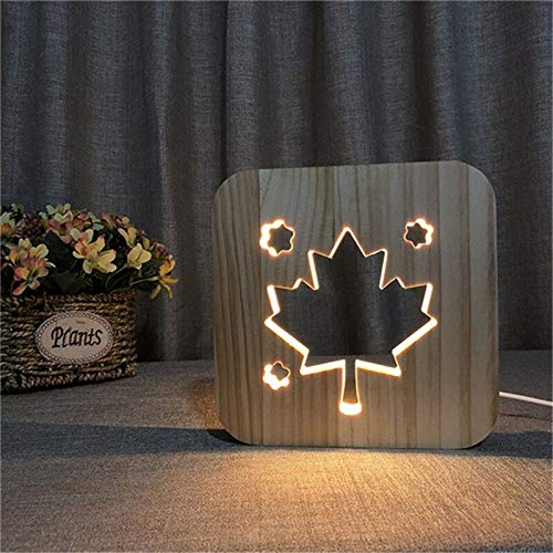 3D Vision Holz Nachtlicht Kanadische Flagge Ahornblatt 3DUSB LED Baby Schlaf Kreatives Holz Nachtlicht Romantisches Geschenk