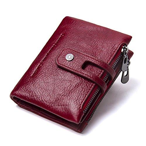 Bifold Portemonnee Mannen & Vrouwen RFID blokkeren portemonnees Zip Billfold in Crazy Horse Leather 9 Slots door Cosihomu