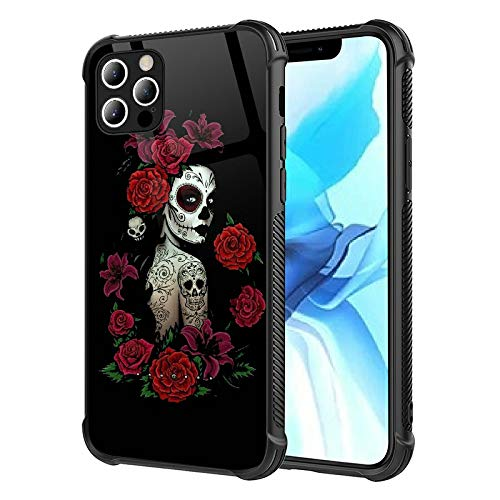 iPhone 12 Case,iPhone 12 Pro Cases Woman Skull Rose for Girls Womens,Pattern Design Shockproof Anti-Scratch Case for Apple iPhone 12 /12Pro 6.1-inch Woman Skull Rose