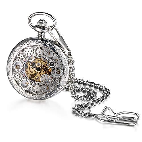 JewelryWe Orologio da Tasca a Quarzo Hollow Collana in Lega Orologio Vintage Orologi Meccanici Colore Argento
