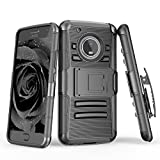 TILL for Moto G5 Plus Case, TILL [Knight Armor] [Black] Heavy Duty Full-Body Rugged Holster Resilient Armor Case [Belt Swivel Clip][Kickstand] Defender Combo Cover Shell for Motorola G 5th Gen Plus